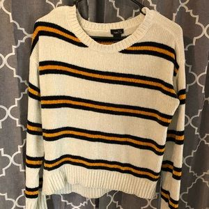 Yellow and Navy Blue striped sweater!